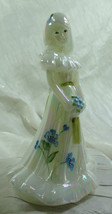 Fenton Bridesmaid Doll Mother of Pearl Glass Hand Painted Blue Flowers - $82.27