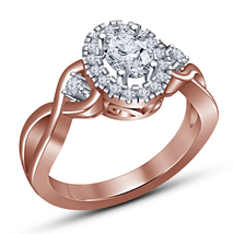 14k Rose Gold Plated 925 Silver Oval Shape White Diamond Beautiful Wedding Ring - $73.99
