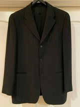 EMPORIO ARMANI MENS CHARCOAL GRAY STRIPED 42L SUIT JACKET PANTS MADE IN ... - $170.05