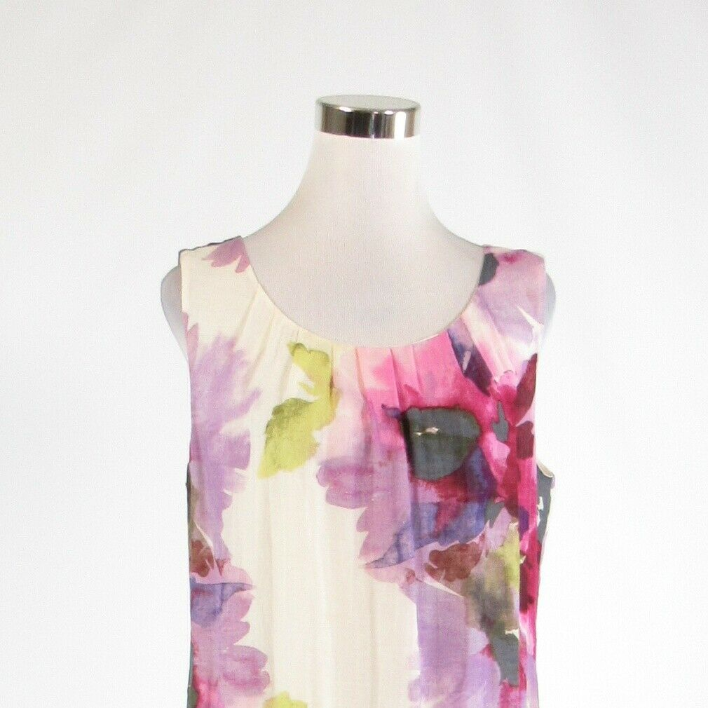 White purple floral print ANN TAYLOR LOFT sleeveless shift dress 10 image 2