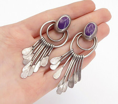 MEXICO 925 Sterling Silver - Vintage Inlaid Sugilite Dangle Earrings - E... - $79.53