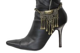 Moda Donna Western Stivali Catenina Oro Antico Metallo Stile Etnico - $32.08
