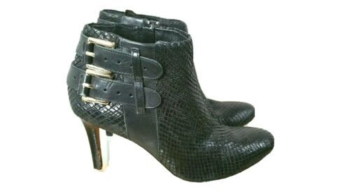 ANN TAYLOR Booties Black Leather Size 7.5 Ankle Boots Buckles - $19.78