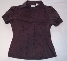 WORTHINGTON STRETCH Womens 12 Button Front Top Shirt Striped SS Ladies B... - $11.37