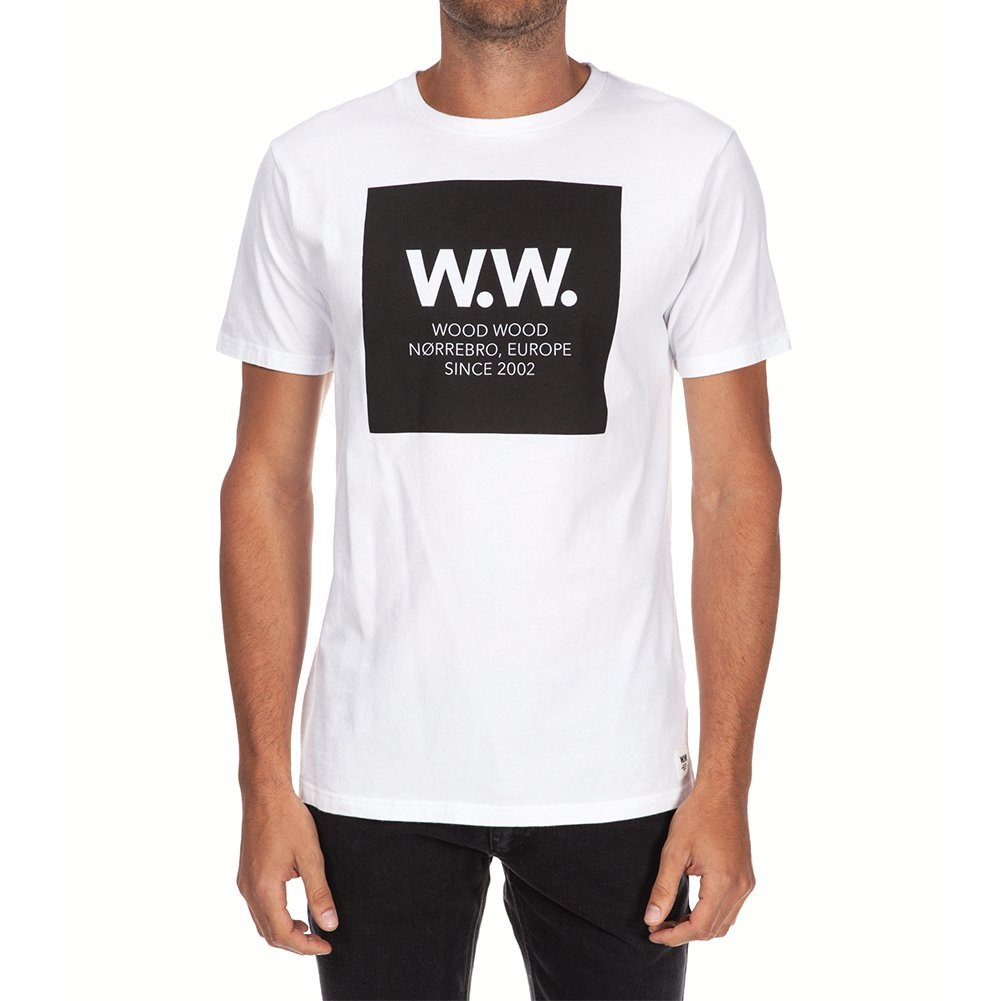 Wood Wood Men's WW Square T-shirt 11535719-2080 (M, White)