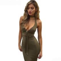 Stylish Halter Deep V-Neck Women Party Bodycon Dress - $23.98