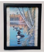 """Loons on the Water Lake Framed Picture Black Wall or Tabletop Birds Fall 9"""" - $12.56"""