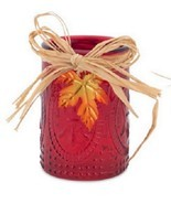 "4"" Red Autumn Tea Light Candle Jar Table Top Decoration - $8.79"