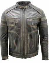 Men's Vintage Black Distressed Leather Jacket Faded Biker Jacket - $99.99