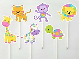 Crafty Cue Pastel Jungle Animal Cupcake Toppers - 12 Count - $11.99