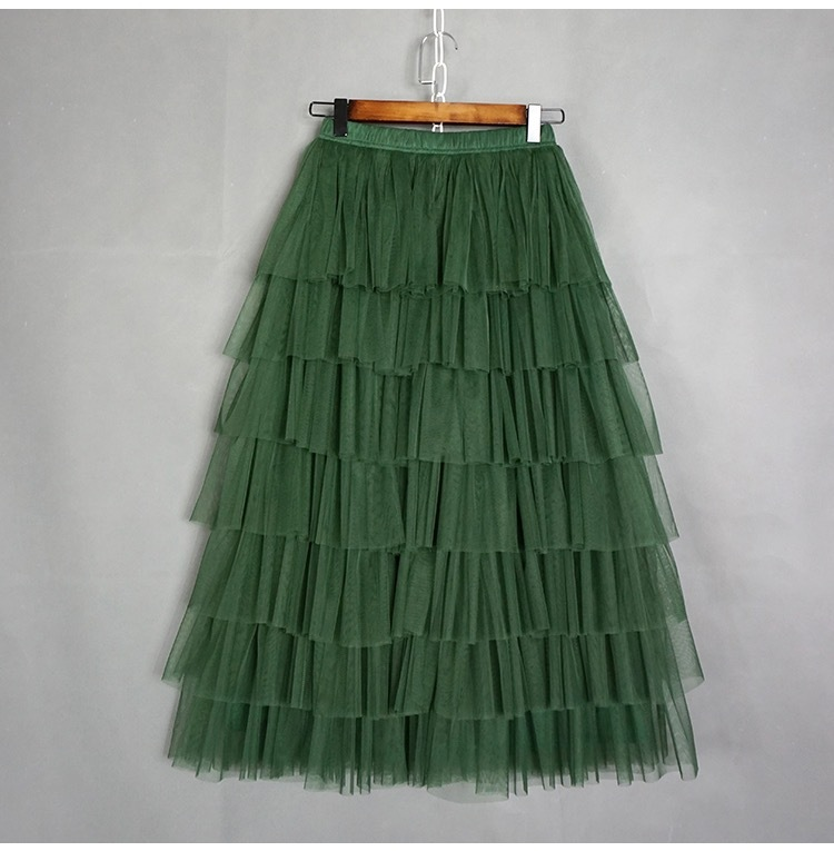 ARMY GREEN Layered Tulle Skirt Women High Waist Mesh Full Tulle Party Skirt Plus