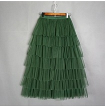 ARMY GREEN Layered Tulle Skirt Women High Waist Mesh Full Tulle Party Skirt Plus image 1