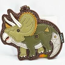 Chala Handbags Faux Leather Triceratops Dinosaur Coin Purse Key Chain Keychain