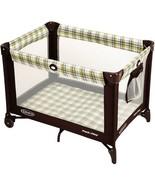 Baby Play Yard Nap Play Toddler Brown Air Mesh Activities Travel Storage... - $65.77