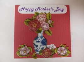 Red Mother's day floral vase of flowers greeting card,red and blue 4x4 - $2.99