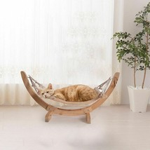 Wooden Cat Hammock Plush Cat Bed Sturdy Perch Durable Raised Hanging Bed... - $62.88