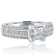 1.64 Ct Solitaire Engagement Ring Princess Cut Diamond 14k Gold Three Rows Band - $2,919.51