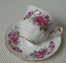 QUEEN ANNE China FOOTED TEA CUP & SAUCER #8544 Pink Roses Purple Flower ... - $19.39