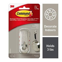 Command Silver 3 lb Capacity Accent Hook, Medium, Indoor Use 17071BN-ES
