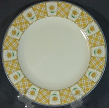 Studio Nova Y0310 Spring Terrace Dinner Plate Yellow Plaid Sunflowers Pl... - $14.99