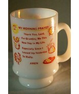 Anchor Hocking My Morning Prayer Milk Glass Footed Mug - $6.29