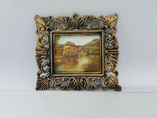 Primary image for Vintage Dollhouse miniature Framed Village River Art Scene Made in HONG KONG