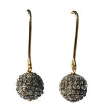 Victorian 4.25ct Rose Cut Diamond Ball Shape Genuine Wedding Vintage Earrings - $503.00