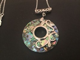 "Inlaid Abalone Top MOP Bottom Pendant On 16"" Sterling Chain Necklace - $24.70"