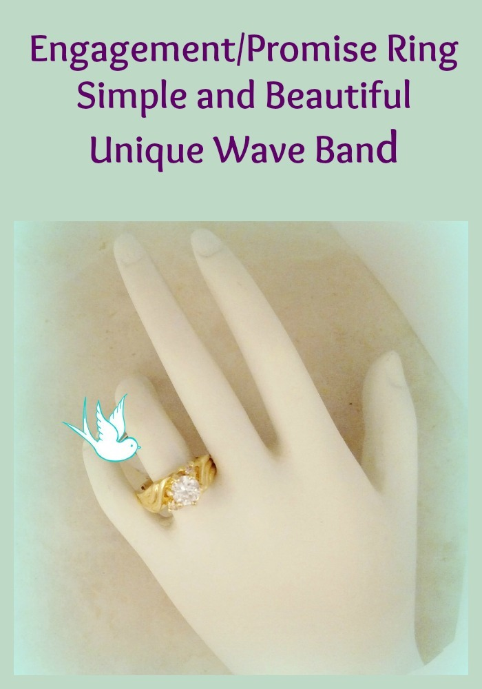 Wave band engagement ring collage
