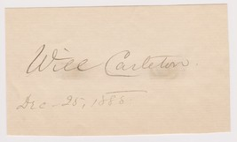 Will Carleton (d. 1912) Signed Autographed Vintage Signature Page - Lege... - $49.99