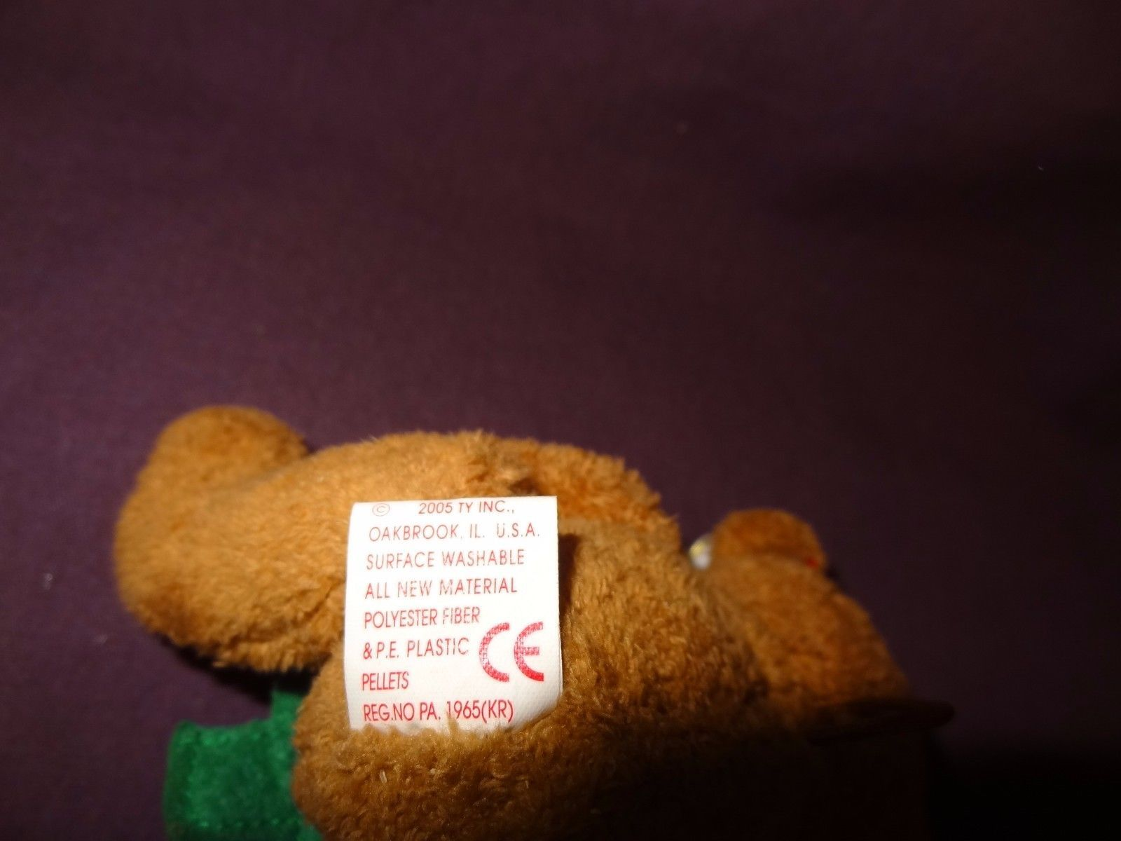 Jingle Beanies Bear Twinkling Christmas Ty Plush Stuffed Animal Toy 2005 Tag