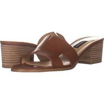 Nine West Aubrey Block Heel Slip On Sandals, Dark Brown Leather 725, Dar... - $25.91