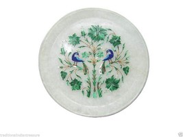 "8"" White Marble Serving Plate PietraDura Malachite Peacock Precious Gifts Decor - $149.53"