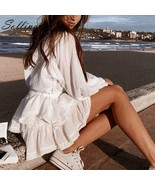 White Summer Party Skirt Ruffle Women Polka Dot Casual Fashion Mini Skir... - $27.99