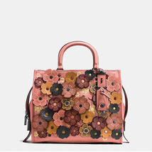 Coach Rogue Black Copper/Melon Pebble Leather Tea RoseZipClosureShoulder... - $1,699.99