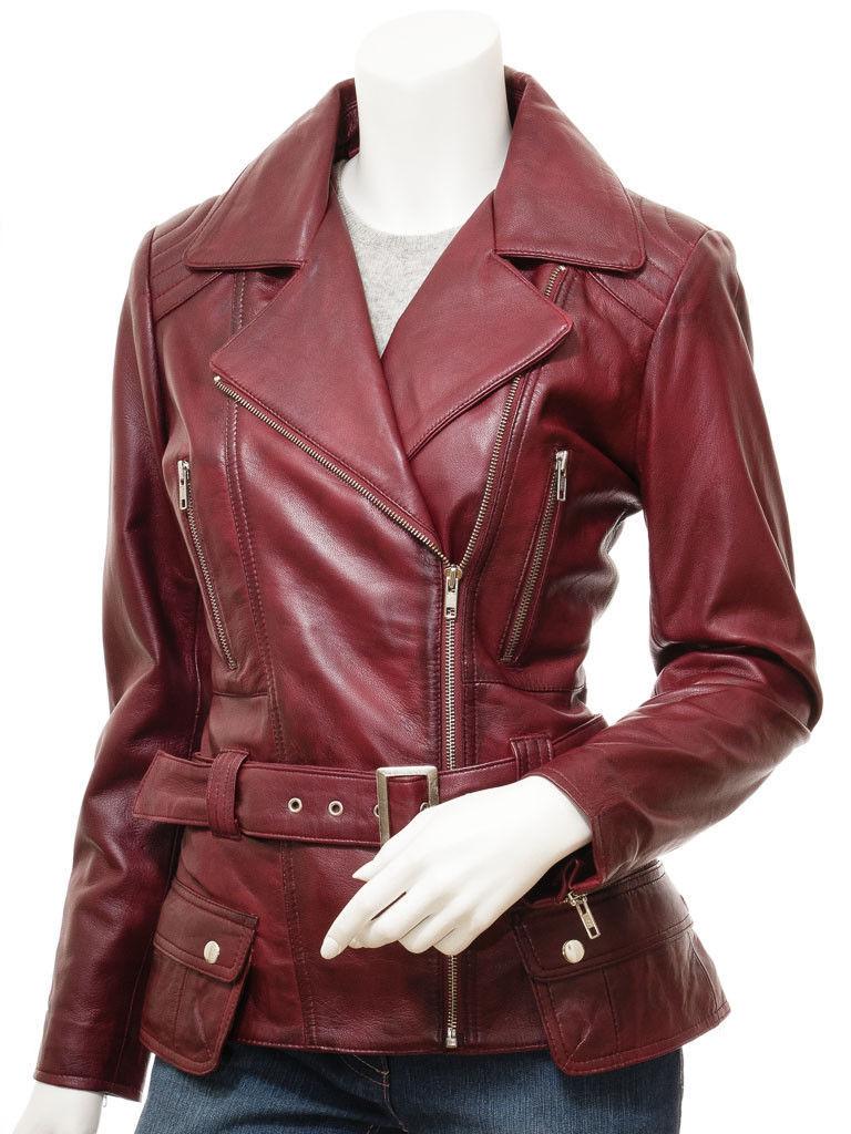 QASTAN Women's New Stylish Fashioned Burgundy Biker Leather Jacket QWJ42E