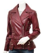 QASTAN Women's New Stylish Fashioned Burgundy Biker Leather Jacket QWJ42E - $149.00