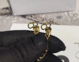 Authentic Christian Dior 2019 CC LOGO CHAIN STAR DANGLE TRIBALE EARRING  image 9