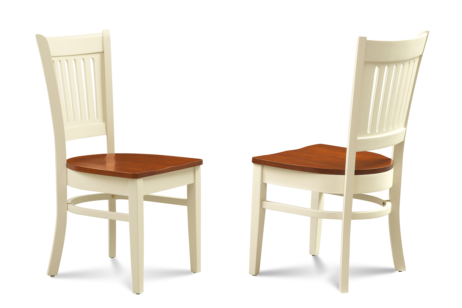 7 PIECE OVAL DINING ROOM TABLE SET w/ 6 WOODEN CHAIRS IN BUTTERMILK & CHERRY