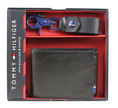 Tommy Hilfiger Men's Slim Passcase Wallet & Key Fob Box Set Black 41TL25X026
