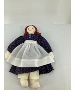 "Handmade Cloth Rag Doll 15"" Yarn Hair Floral Blue Dress Apron Embroidered Face - $9.49"