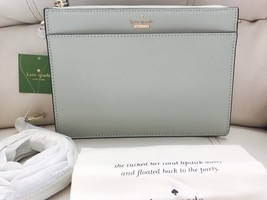 NWT Kate Spade Cameron Street Clarise Leather Crossbody Misty Mint Clutch Bag - $98.70