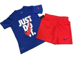 Little Boys USA Red White Blue Nike Just Do It Swoosh 2 Piece Shirt & Sh... - $24.69