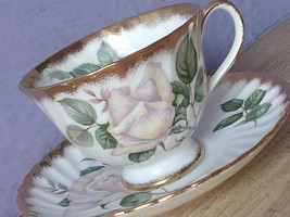 Vintage 1960's Adderley England Bone china pour toi white rose tea cup t... - $38.61