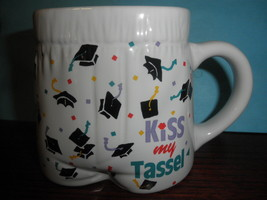 Papel Kiss My Tassel Graduation  Cup Mug Coffee Tea Container White - $16.78