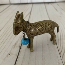 Vintage Brass Donkey Figure With Blue Bead - $11.88