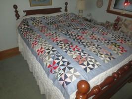 Vtg. Hand & Machine Sewn PINWHEEL & STRIPE PATCHWORK Cotton QUILT TOP--6... - $59.35