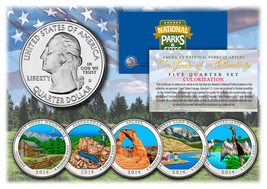 2014 America The Beautiful COLORIZED Quarters U.S. Parks 5-Coin Set w/Ca... - $12.82