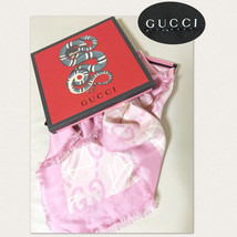 GUCCI Ghost Scarf Stole Sakura Pink Star GG Silk 100% Woman Japan L/d Au... - $448.49
