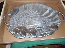 """NIB-Magnificent LENOX Turkey """"Handled"""" Metal Serveware PLATTER  24"""" x 16"""" - $48.22"""